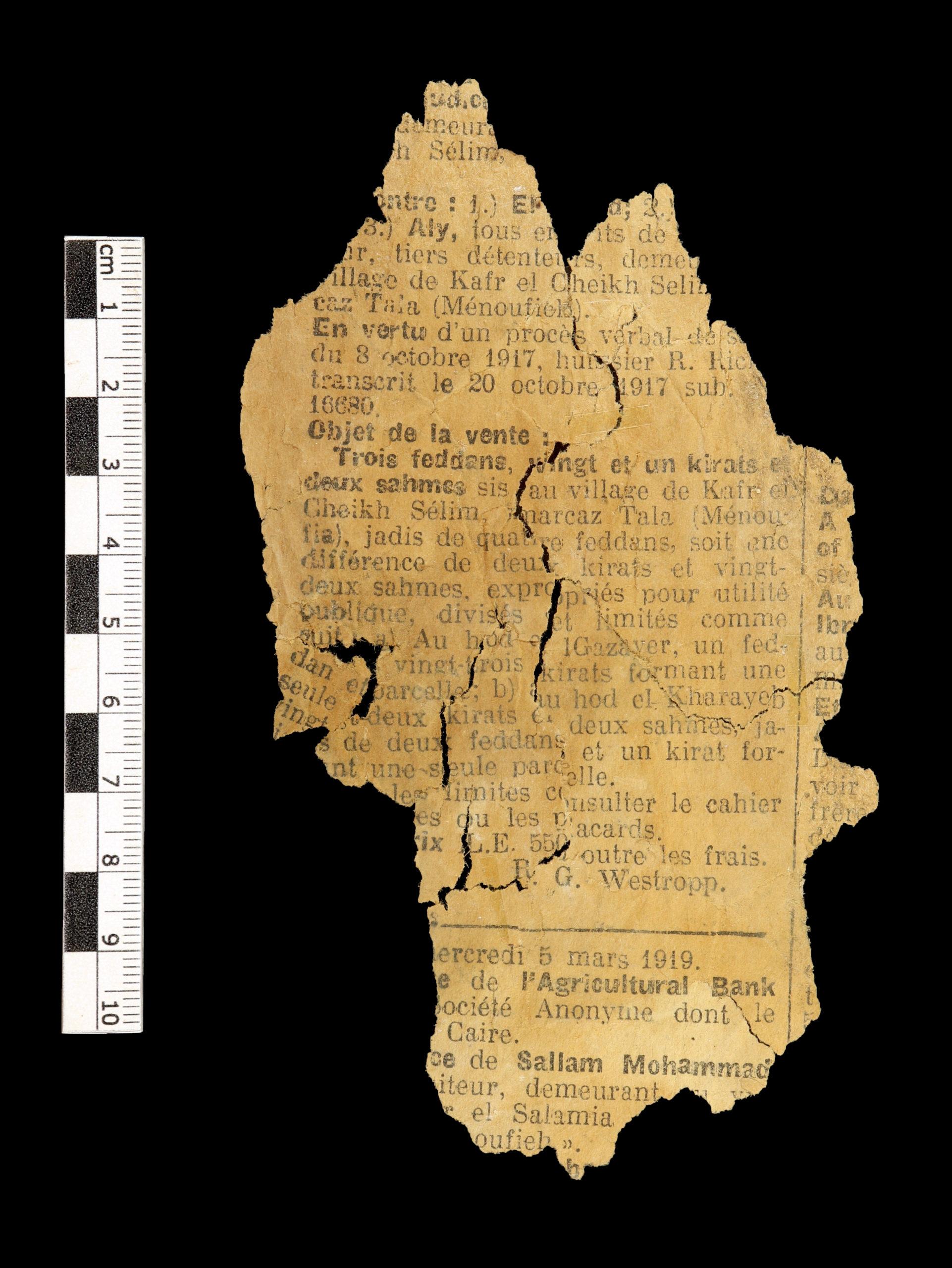 Photographie du fragment de journal découvert en contexte archéologique. Assassif 2018, US 1045-05, côté A. Photo Garance Clapuyt, 2019